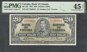 1937 $20.00 BC-25b PMG EF-45 EPQ King George VI BEAUTIFUL Canada Twenty Dollars