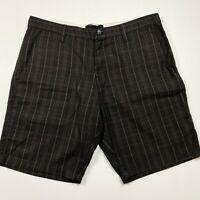 Billabong Mens Grey Maroon White Check Shorts Size 34