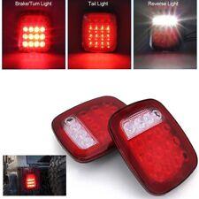2XTruck Trailer LED Stop Turn Tail Light Red/white For Jeep Wrangler JK TJ CJ YJ