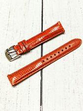 NOS Ladies Fashion Watch Strap Band 16mm - Orange Teju Lizard Quick Release