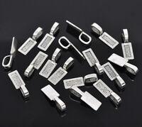 50Pcs Antique Silver Glue On Bail Rectangle Charms Pad Bails Pad Pendant Setting