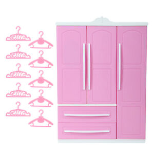 1 Pink Wardrobe Closet + 10 Hangers for 12 in Doll House Bedroom Furniture Toy