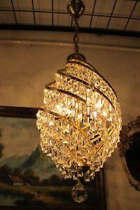 Antique Vintage.French Basket Style Crystal Chandelier Lamp Light Lüster 1960's