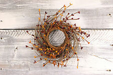 """Pip Berry & Rusty Star Small Wreath/Candle Ring, 10"""" - Burgundy & Gold"""