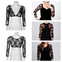 Women Ladies Dress Slip-on 3/4 Sleeve Lace Bolero Crop Shrug Top Outwear S-XL