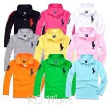 New classic boy girl longsleeved polo T-shirt top size 2.3.4.5.6.7.8.9.10