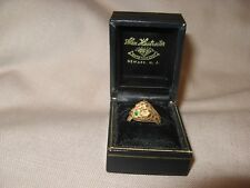 Vintage Estate Art Deco Jewelry Baby Leopard Ring Solid 14k Gold Emerald Eyes