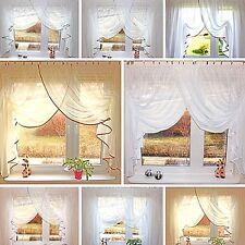 Romantische Fertig Gardine 400/150 Raffband Kräuselband Weiß Creme Neu