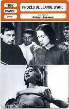 Fiche Monsieur Cinéma. Procès de Jeanne D'Arc. France 1962 Robert Bresson