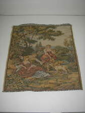 """European Tapestry Wall Hanging Courting Couple 16""""x18"""
