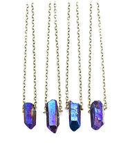 Blue galaxy crystal court necklace-bullet Stone Vintage boho-quartz bijoux