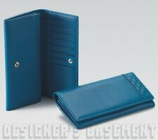GUCCI blue Riviera Leather GUCCISSIMA edge CONTINENTAL zip Wallet NIB Authentic!