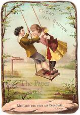 4x6 BIG Victorian Boy & Girl on Tree Swing Antique Vtg French Chromo Trade Card