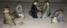 Three Vintage Mudman Oriental Figurines Very Detailed Hand Sculpted Hand Painted