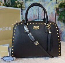 NWT MICHAEL KORS SANDRINE STUD Large Satchel Bag BLACK Pebbled Leather $428