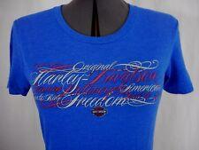 Harley-Davidson Women's Blue Red & Silver Short Sleeve T-Shirt Size M
