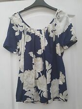 NEXT NAVY BLUE BEIGE WHITE ROSE FLOWER PRINT GATHERED TIE BACK SMOCK TUNIC TOP