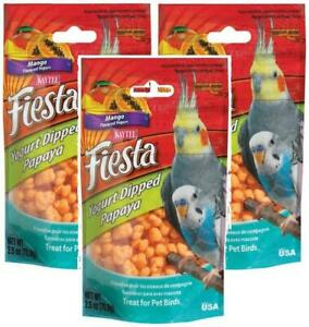 (3 Pack) Kaytee Fiesta Yogurt Dipped Papaya Treats For Pet Birds, 2.5 oz Each