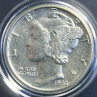 1943 S Mercury Dime , UNC Uncirculated, 90% Silver US Coin!