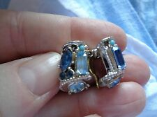 QUALITY PAIR OF SHADES OF BLUE CRYSTAL & FAUX TURQUOISE CLIP ON EARRINGS