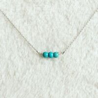 Dainty Turquoise Pendant Necklace, Sterling Silver Chain Triple Gemstone Simple