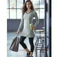 Athleta Womens Bliss V Neck Long Sleeves Sweater Hoodie Dress Gray Medium EUC
