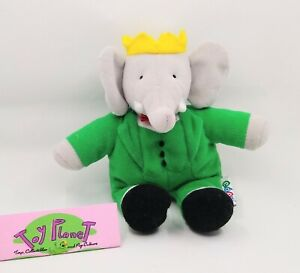 "Vintage BABAR Elephant 8"" Plush Stuffed Animal Toy 1991 Eden"