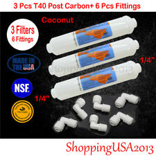 """3 Omnipure T40 Post Coconut Inline Carbon Filter 10X2"""" RO +6 Male Elbow Fitting*"""