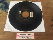 "Guns N' Roses Sweet Child O' Mine / It's So Easy Geffen Records 7"" 45rpm 7-27963"