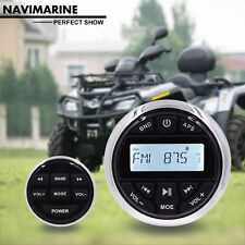 Marine Gauge FM AM Boat Radio Car ATV Bluetooth Stereo + Wired Remote Control