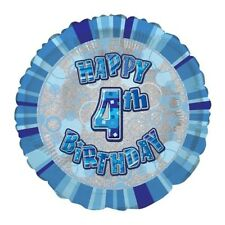 Happy 4th Birthday AGE 4 Party Balloons Banners Badges & Decorations Helium BOY