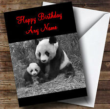 Panda & Baby Personalised Birthday Greetings Card