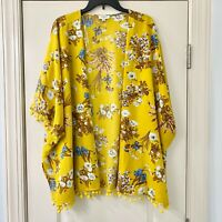 Umgee Mustard Yellow Floral Open Kimono Duster S/M