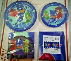 PJ Masks Kids Birthday Party Kit Decorations Supplies Set Plates Table Cover NEW