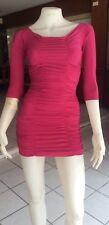 Pink Short Sleeves  Ruched Design  Clubwear Ultra Mini Dress  8-10