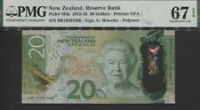 TT PK 193a 2015-16 NEW ZEALAND 20 DOLLARS QUEEN ELIZABETH II PMG 67 EPQ SUPERB!