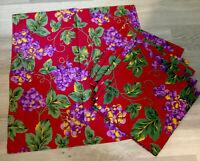 Six Large Dinner Napkins, Printed Grapes & Leaves, Cotton, Burgundy, Purple
