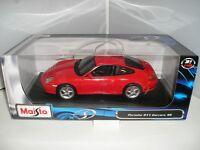 31628 Maisto Red Porsche 911 Carrera 4S 1:18 Metal Diecast Model Car New Boxed
