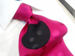 Italian Silk Tie Necktie Hot Pink Black Big Polka Dot Jacquard