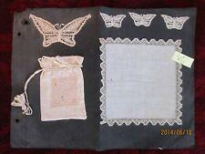 """Rare :Salesman Sampler"""" Antique Vntg. lace Crotchet Hankie, Purse, Appliques"""