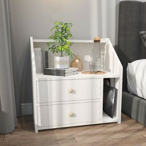 White Bedside Table Cabinets Nightstand Lamp Side Table Storage Drawers Bedroom