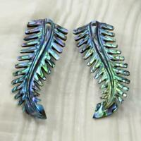 Multicolor Paua Abalone Shell Iridescent Carved Fern Leaves Earring Pair 1.60 g