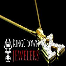 10K Solid Gold Genuine Diamond Initial Letter K Mini Pendant Charm Chain Set