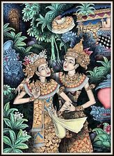 """Original """"Traditional Balinese Painting""""  """"The Dancers""""  (35"""" h x 25.25"""" w)"""