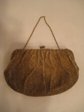 vtg Richere Japan Gold Bead Purse evening bag art nouveau flapper hand clutch