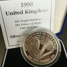 GB COINS £5 1998 CHARLES 50 SILVER PROOF COIN SUPERB CASED WITH CERTIFICATE