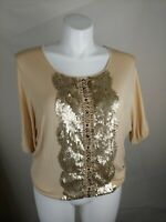 BKE BOUTIQUE Blouse Womens Small Sequins And Other Designs 3/4 Sleeve Shirt