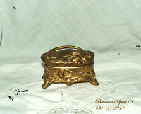 Antique Art Nouveau Ornate Roses Brass Original Silk Lining Jewelry Trinket Box