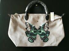 Auth Longchamp Le Pliage Neo Medium Series Butterfly Gray Handbag