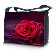 """15.6"""" 15"""" Laptop Notebook Padded Compartment Shoulder Messenger Bag Red Rose N04"""